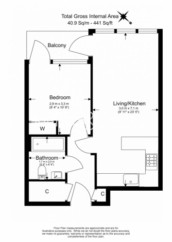 1 bedroom(s) flat to rent in Longfield Avenue, Ealing, W5-Floorplan
