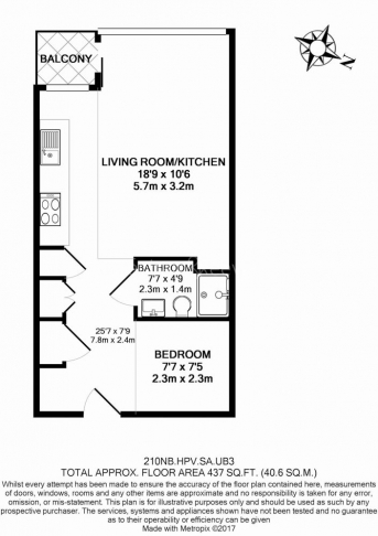 Studio flat to rent in Station Approach, Hayes, UB3-Floorplan