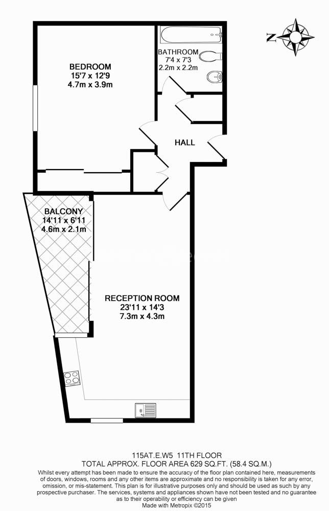 1 bedroom(s) flat to rent in Uxbridge Road, Ealing, W5-Floorplan