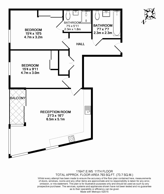 2 bedroom(s) flat to rent in Uxbridge Road, Ealing, W5-Floorplan