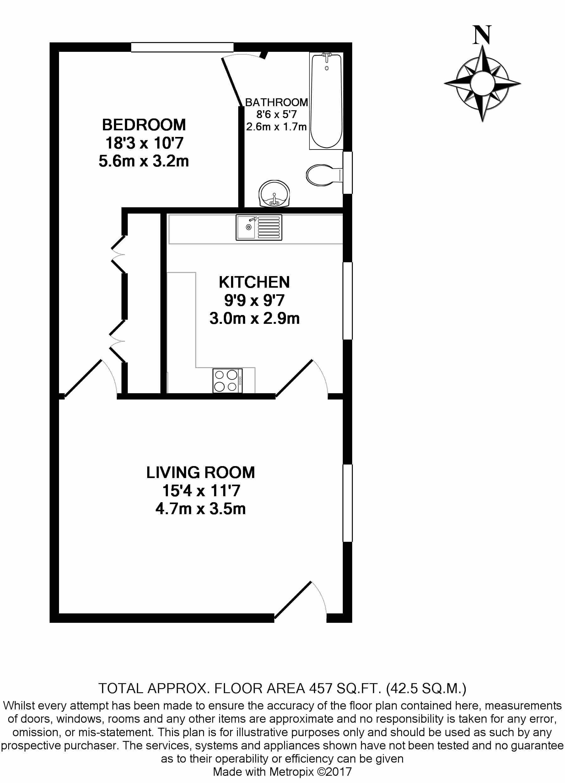 1 bedroom(s) flat to rent in Madeley Road, Ealing, W5-Floorplan