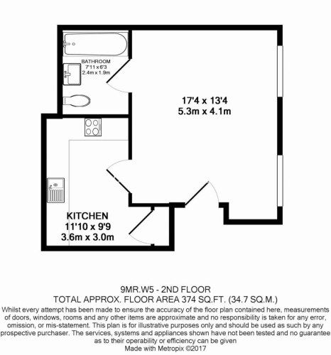 Studio flat to rent in Madeley Road, Ealing, W5-Floorplan