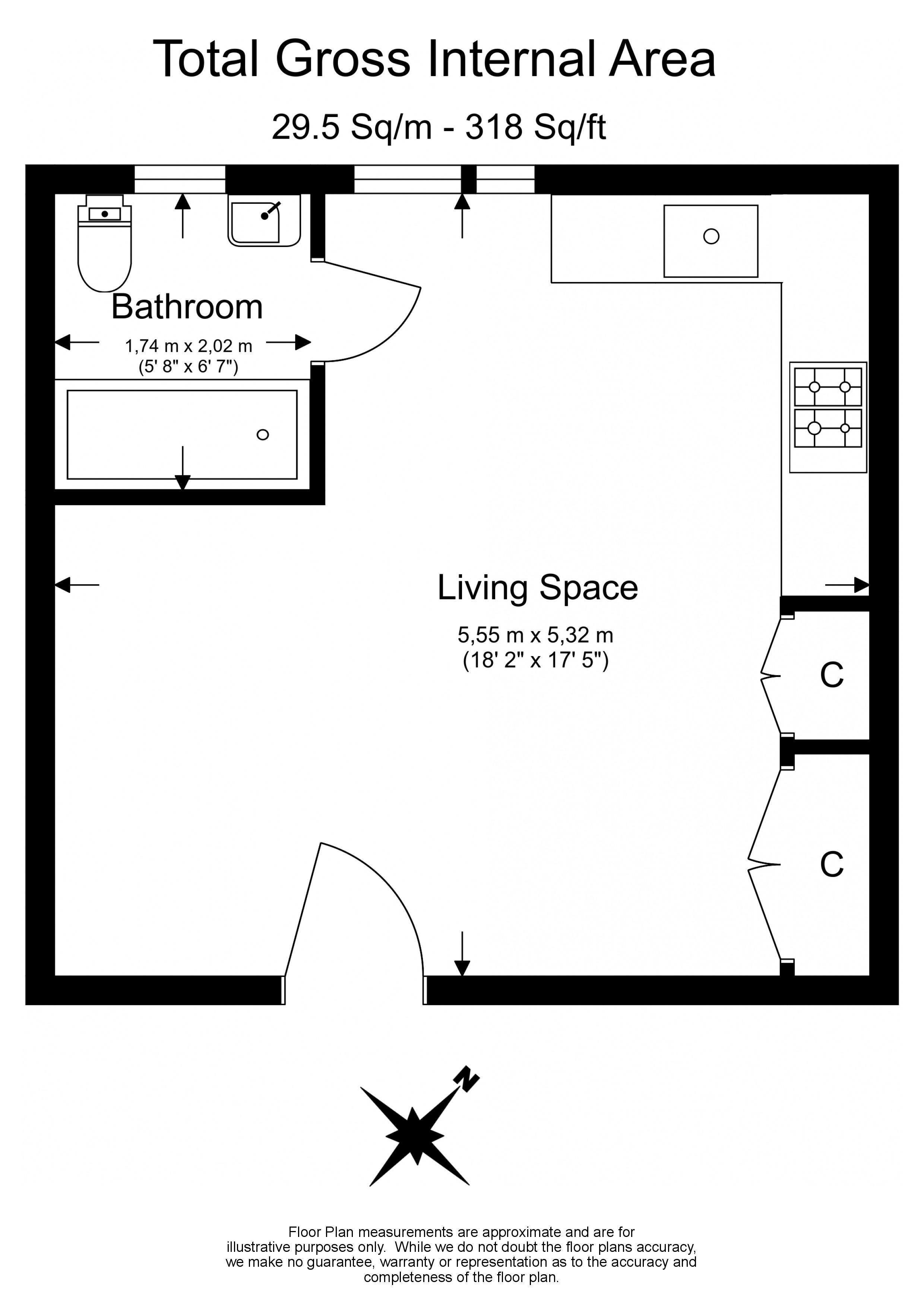 Studio flat to rent in Madeley Road, Ealing, W5-Floorplan