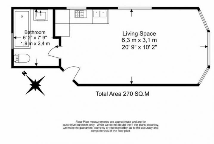 Studio flat to rent in Pitshanger Lane, Ealing, W5-Floorplan