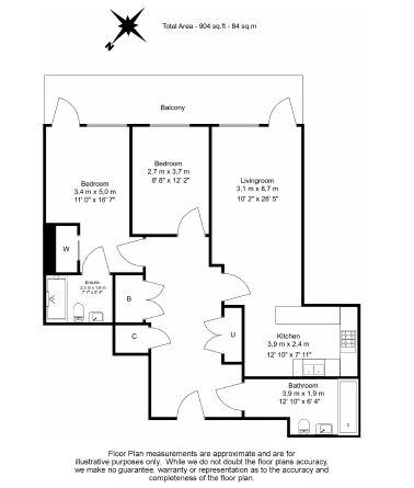 2 bedroom(s) flat to rent in New Broadway, Ealing, W5-Floorplan
