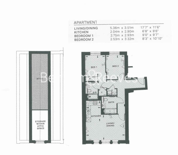 2 bedroom(s) flat to rent in New Broadway, Ealing, W5-Floorplan