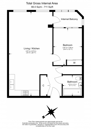 1 bedroom(s) flat to rent in College Road, Harrow, HA1-Floorplan