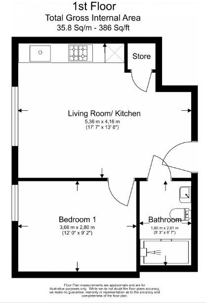 1 bedroom(s) flat to rent in Field End Road, Ruislip, HA4-Floorplan