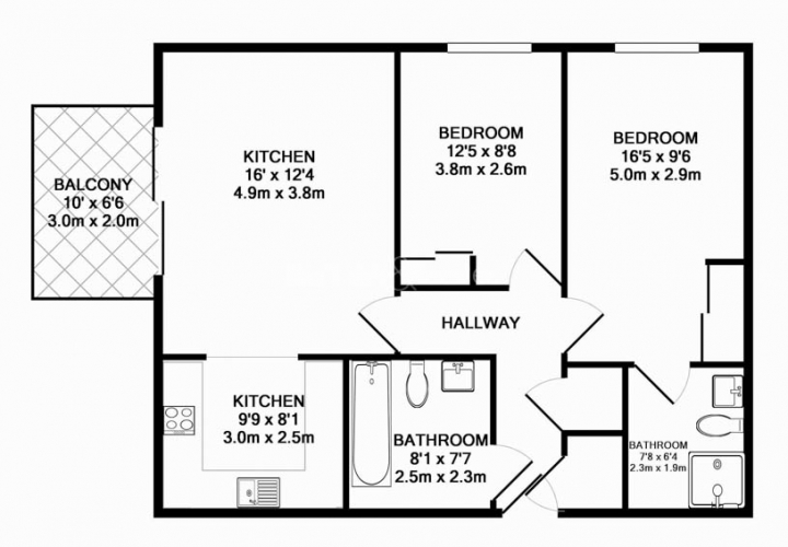 2 bedroom(s) flat to rent in Station Approach, Hayes, UB3-Floorplan