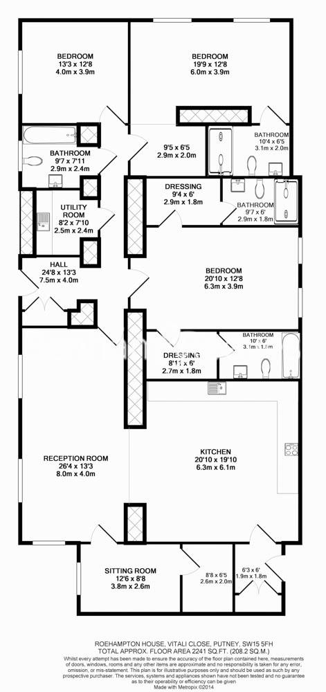 3 bedroom(s) flat to rent in Roehampton House, Roehampton, SW15-Floorplan