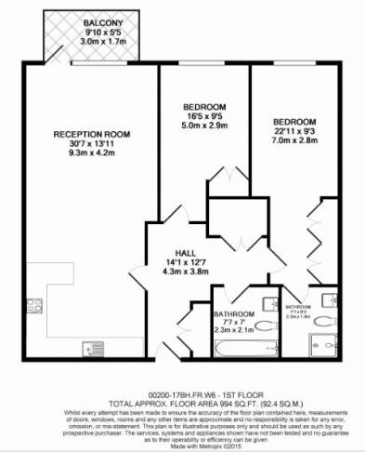 2 bedroom(s) flat to rent in Fulham Reach, Hammersmith, W6-Floorplan