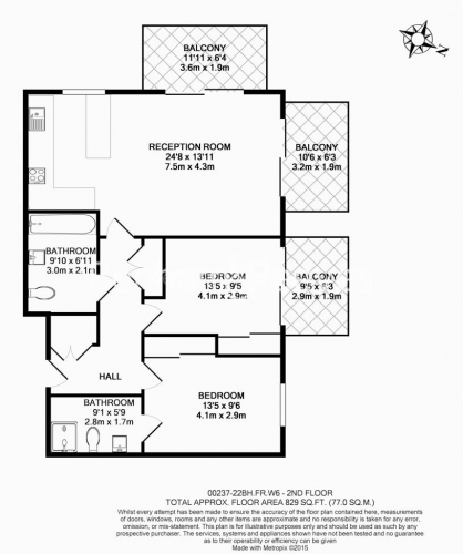 2 bedroom(s) flat to rent in Brunswick House, Hammersmith, W6-Floorplan