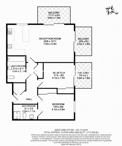 2 bedroom(s) flat to rent in Fulham Reach, Hammermsith, W6-Floorplan