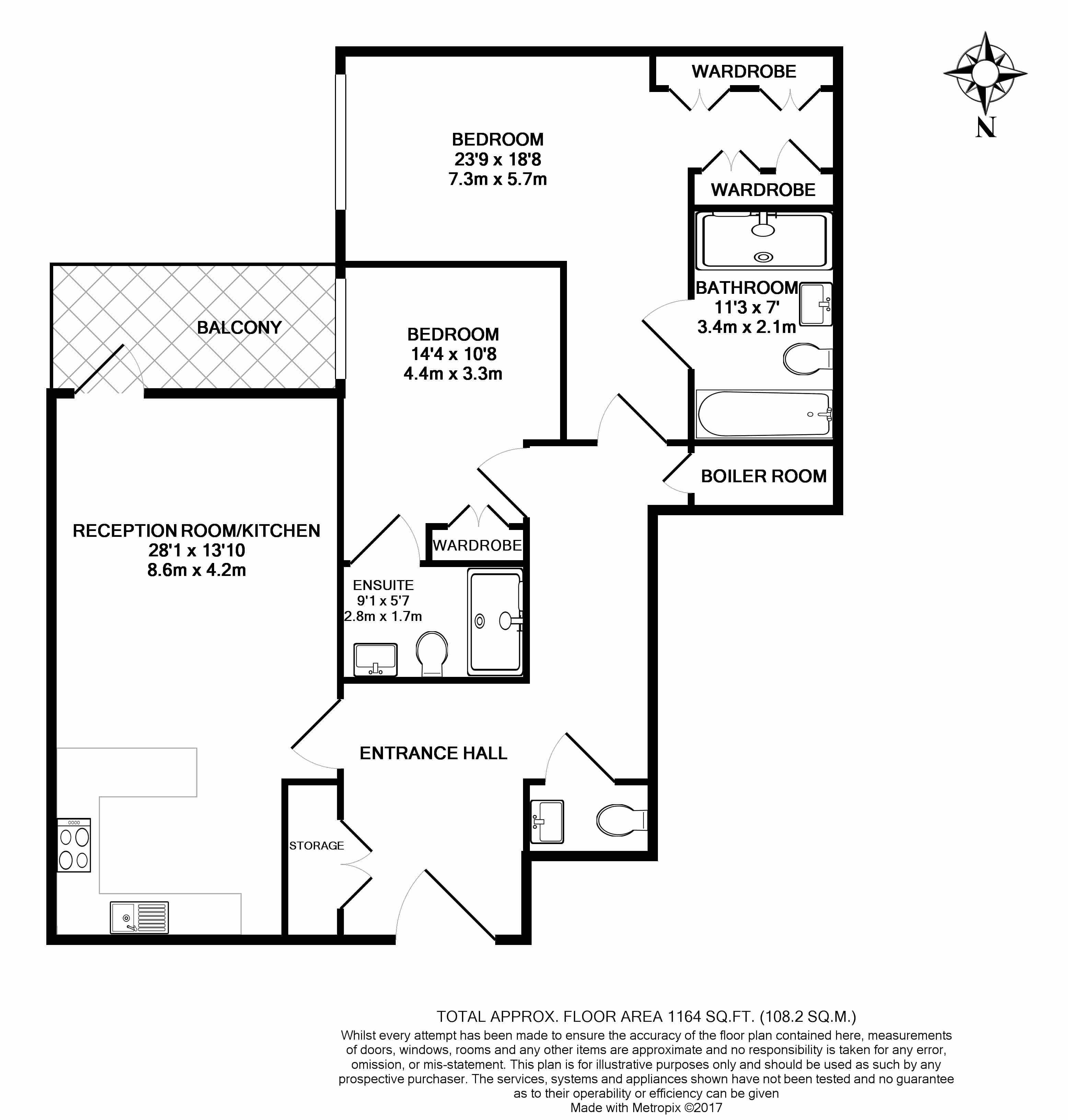 2 bedroom(s) flat to rent in Faulkner house, Fulham Reach, W6-Floorplan