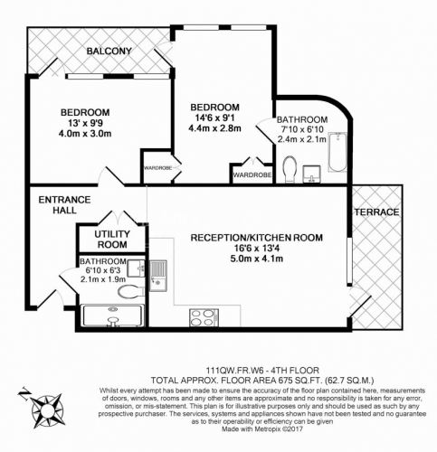 2 bedroom(s) flat to rent in Queens Wharf, Hammersmith, W6-Floorplan