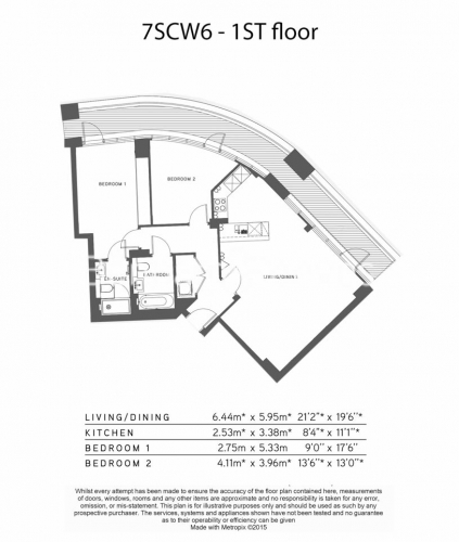 2 bedroom(s) flat to rent in Lancaster House, Sovereign Court, Hammersmith, W6-Floorplan