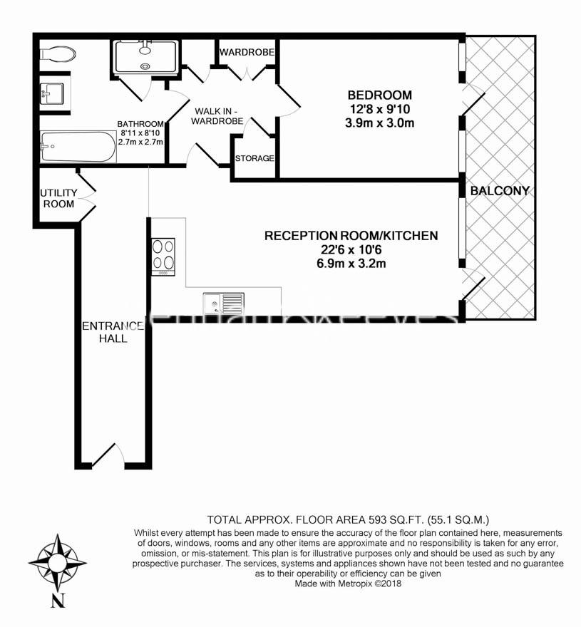 1 bedroom(s) flat to rent in Queens Wharf, Hammersmith, W6-Floorplan