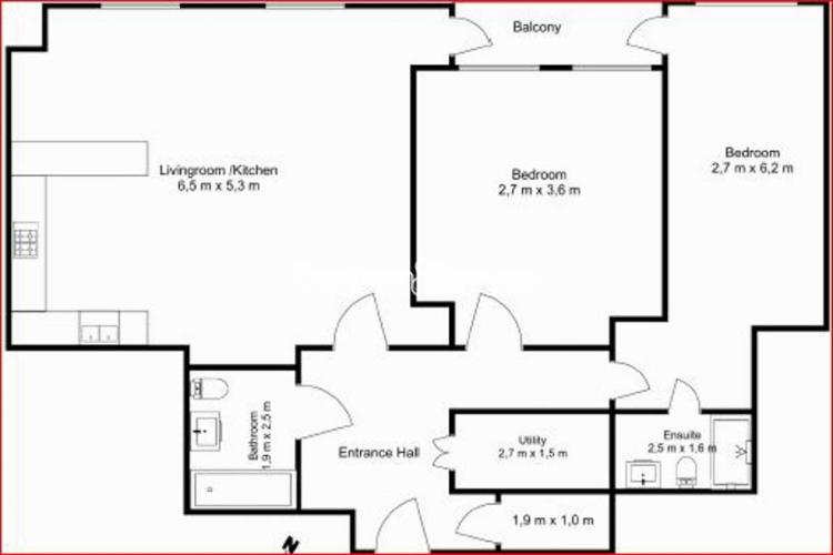 2 bedroom(s) flat to rent in Sovereign Court, Hammersmith, W6-Floorplan
