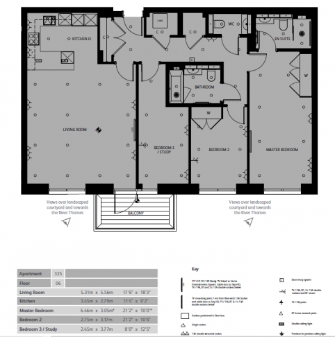 3 bedroom(s) flat to rent in Fulham Reach, Hammersmith, W6-Floorplan