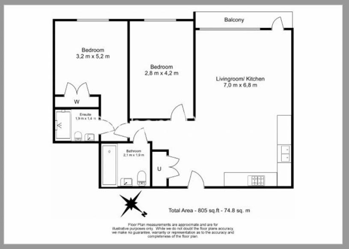 2 bedroom(s) flat to rent in Cambium, Southfields, SW19-Floorplan
