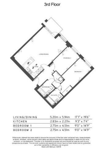 2 bedroom(s) flat to rent in Hamilton House, Fulham Reach, W6-Floorplan