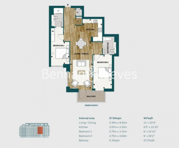 2 bedroom(s) flat to rent in Fulham Reach, Hammersmith, W6-Floorplan