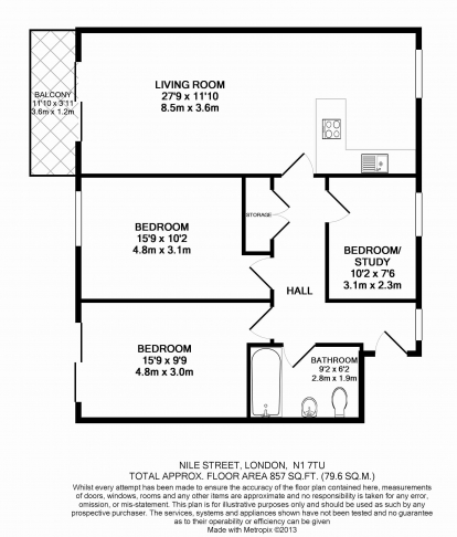 3 bedroom(s) flat to rent in Nile Street, Hoxton, N1-Floorplan