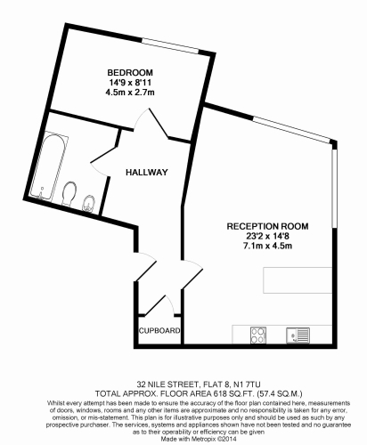 1 bedroom(s) flat to rent in Nile Street, Hoxton, N1-Floorplan