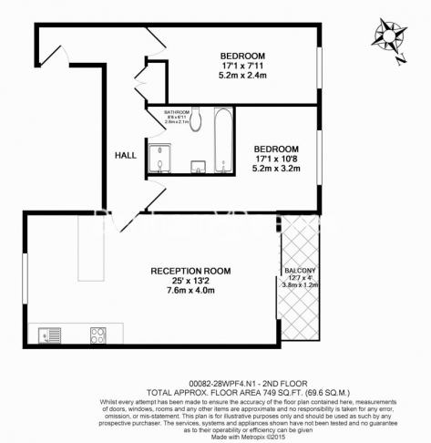 2 bedroom(s) flat to rent in Westland Place, Old Street, N1-Floorplan