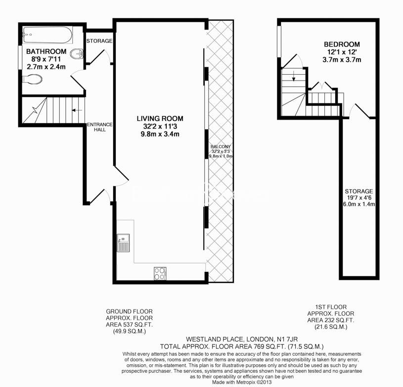 1 bedroom(s) flat to rent in Westland Place, Hoxton, N1-Floorplan