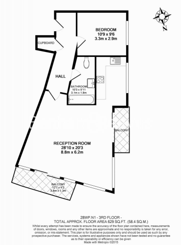 1 bedroom(s) flat to rent in Pegaso Building, Westland Place, Hoxton, N1-Floorplan