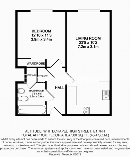 1 bedroom(s) flat to rent in Altitude Point, Aldgate East, E1-Floorplan