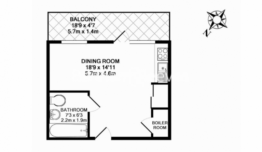 Studio flat to rent in Commercial Street, Aldgate East, E1-Floorplan