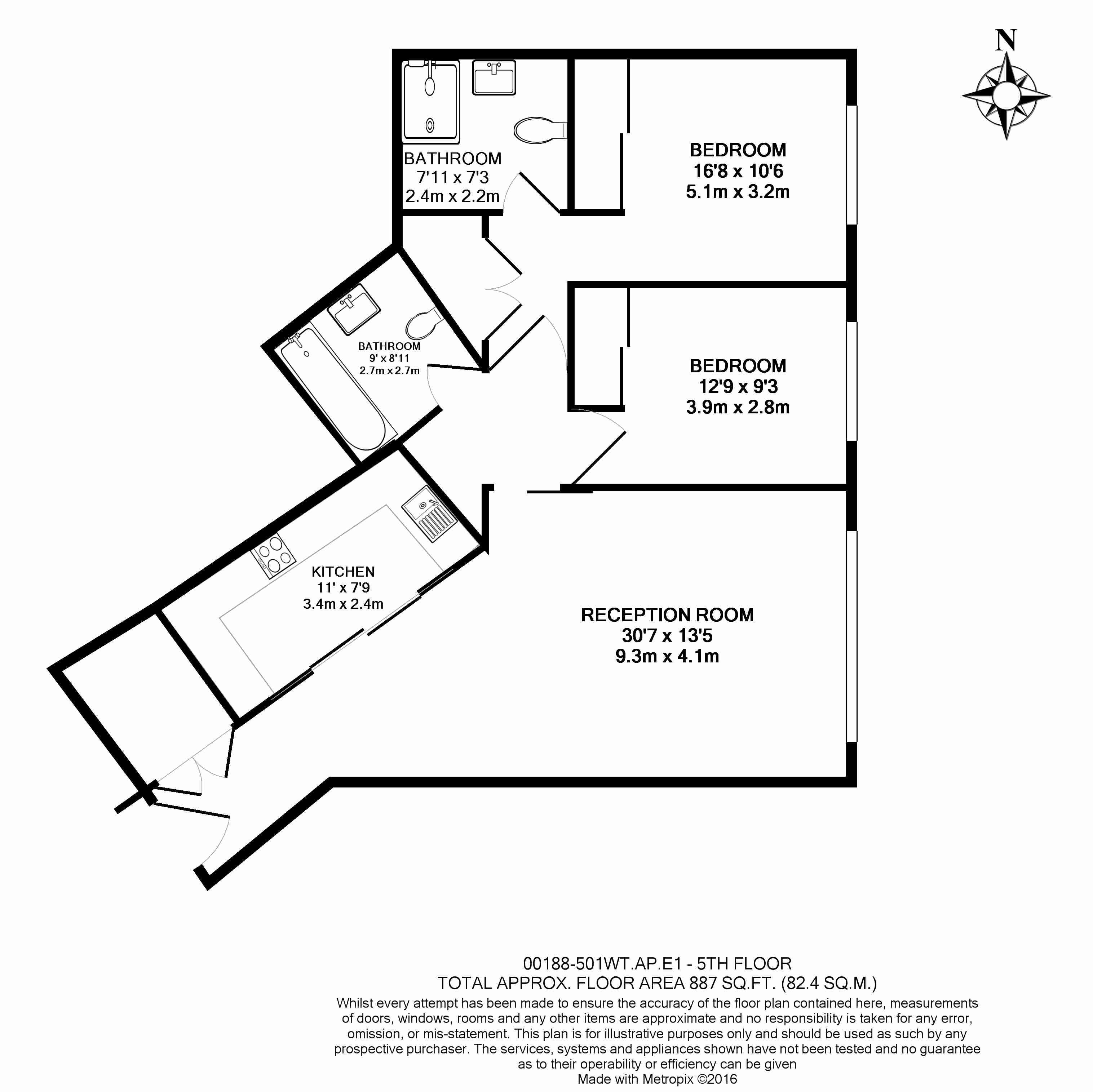 2 bedroom(s) flat to rent in Leman Street, Aldgate East, E1-Floorplan
