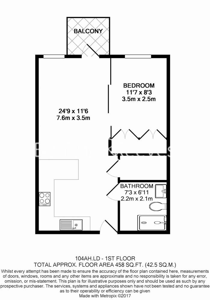 Studio flat to rent in Vaughan Way, Wapping, E1W-Floorplan
