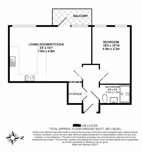 1 bedroom(s) flat to rent in Admiralty House, London Dock, Vaughan Way, E1W-Floorplan
