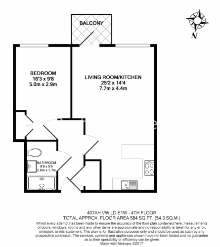 1 bedroom(s) flat to rent in Vaughan Way, Wapping, E1W-Floorplan
