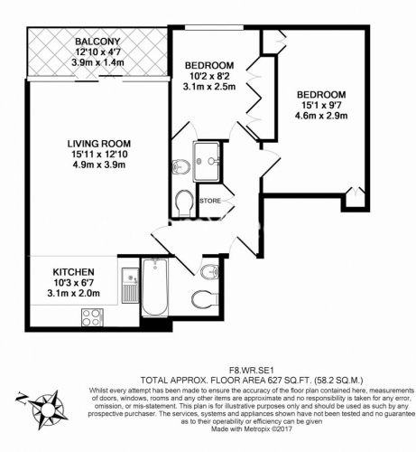 2 bedroom(s) flat to rent in Waterloo Road, Southwark, SE1-Floorplan