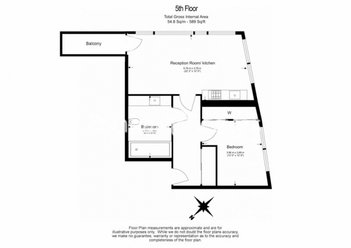1 bedroom(s) flat to rent in Tudor House, Duchess Walk, One Tower Bridge, SE1-Floorplan