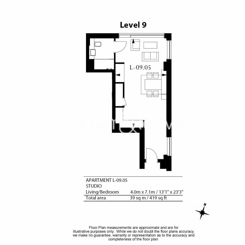 Studio flat to rent in Lavender Place, Royal Mint Gardens, E1-Floorplan