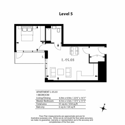 1 bedroom(s) flat to rent in Lavender Place, Royal Mint Gardens, E1-Floorplan
