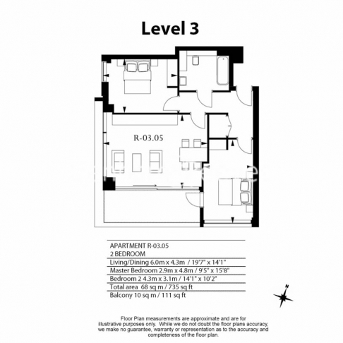 2 bedroom(s) flat to rent in Rosemary Place, Royal Mint Gardens, E1-Floorplan