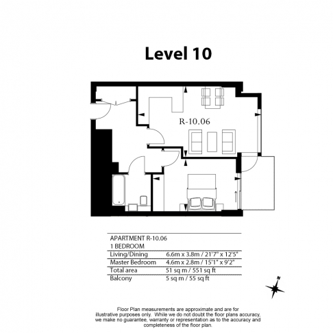1 bedroom(s) flat to rent in Rosemary Building, Royal Mint Gardens, E1-Floorplan