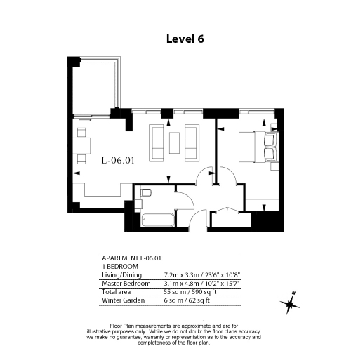 1 bedroom(s) flat to rent in Royal Mint Street, Tower Hill, E1-Floorplan