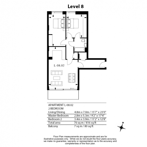 2 bedroom(s) flat to rent in Lavender Building, Royal Mint Gardens, Tower Hill, E1-Floorplan