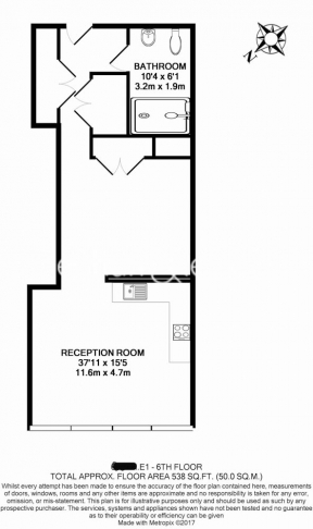 Studio flat to rent in Meranti House, Goodmans Fields, Alie Street, E1-Floorplan