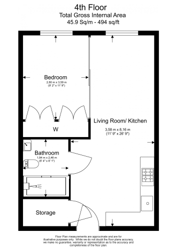 1 bedroom(s) flat to rent in Emery Way, Wapping, E1W-Floorplan