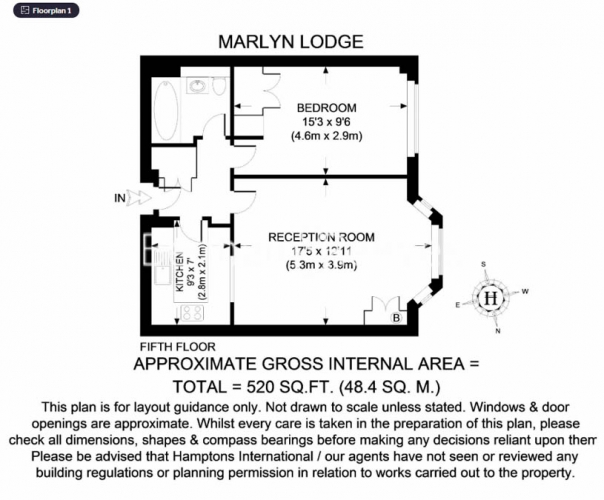 1 bedroom(s) flat to rent in Marlyn Lodge, Portsoken Street, E1-Floorplan