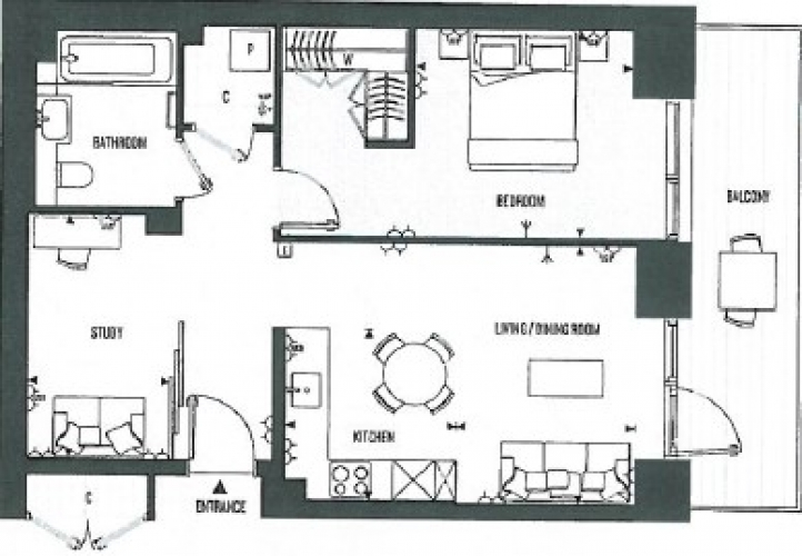 2 bedroom(s) flat to rent in Cashmere Wharf, London Dock, E1W-Floorplan