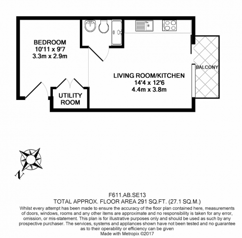 Studio flat to rent in Silkworks, Lewisham, SE13-Floorplan